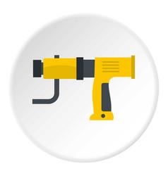 Yellow hand drill icon circle vector