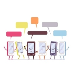 Group of happy smartphones vector