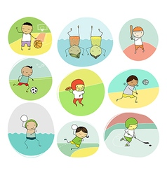 Collection of team sports cartoon vector