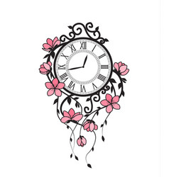 Sakura flowers and clock vector