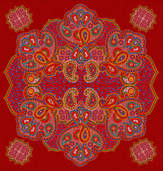 Red paisley floral seamless texture vector
