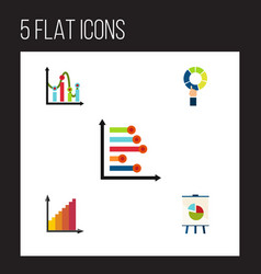 Flat icon diagram set of chart easel infographic vector