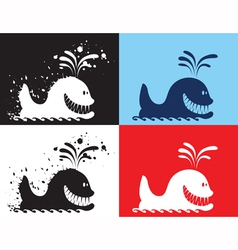 Whale silhouettes vector