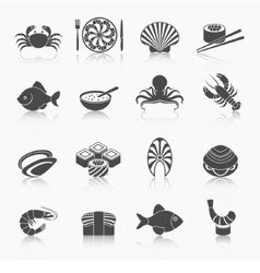 Seafood icons set black vector