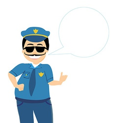 Policeman in uniform and goggles isolated on vector
