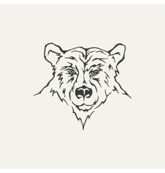 Bear black and white style vector