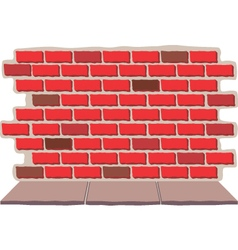 Brick wall with sidewalk vector