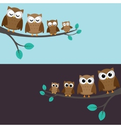 family of owls vector image