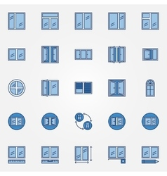 Windows blue icons set vector