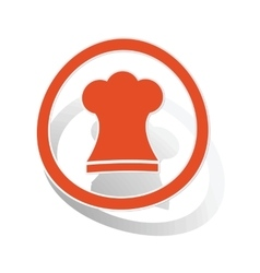 Chef hat sign sticker orange vector