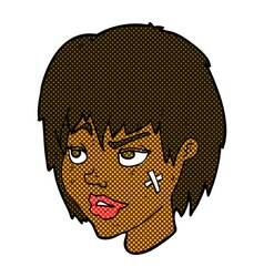 Comic cartoon woman with plaster on face vector