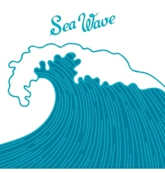 Sea background with abstract hand drawn waves vector
