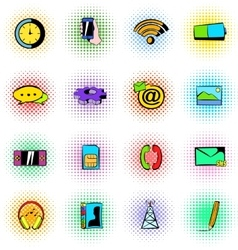 Mobile icons set comics style vector image