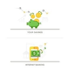 Savings internet banking icons vector