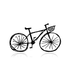 Bicycle with basket sketch for your design vector