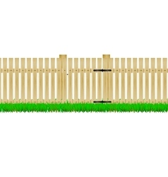 Wooden fence with the door vector