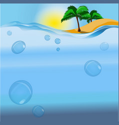 an island and the ocean vector image vector image