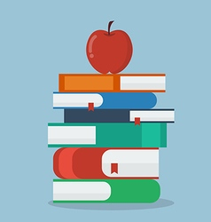 Apple on stack of books vector