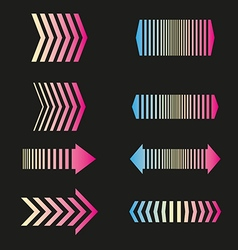 Arrows set linear design elements vector