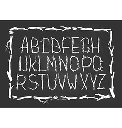 Chalk alphabet made of branches of tree isolated vector