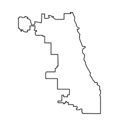 chicago city map of black contour curves on white vector image
