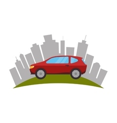 cityscape buildings and car isolated icon vector image