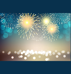 colorful firework on city landscape background vector image vector image