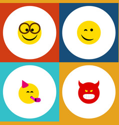 Flat icon face set of party time emoticon winking vector