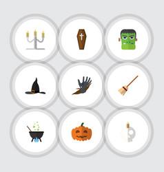 Flat icon halloween set of zombie cranium gourd vector