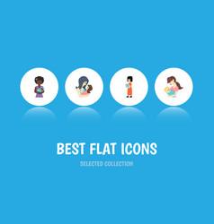 Flat icon mam set of newborn baby child baby and vector