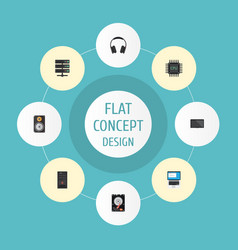 Flat icons datacenter laptop amplifier and other vector