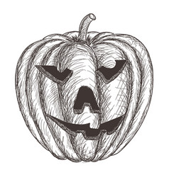 Halloween pumpkin hand drawing sketch vector
