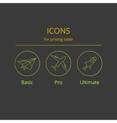 Icons for tariff plans vector image vector image
