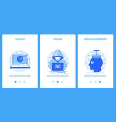 internet security icons - hacking hacker social vector image vector image