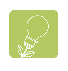 Label bulb plant with leaves to save environment vector