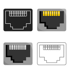 Lan port icon in cartoon style isolated on white vector