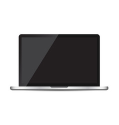Laptop with black screen flat icon computer on vector