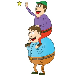Man with son on shoulders vector