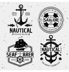 Nautical monochrome logos vector