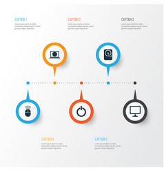 Notebook icons set collection of web power on vector