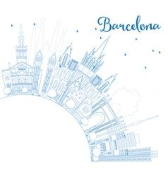 Outline Barcelona Skyline with Blue Buildings vector image