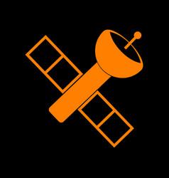Satellite sign orange icon on black vector