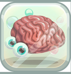 Scary app icon with creepy brain in the tank vector