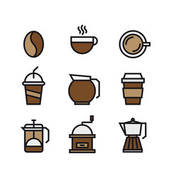 set of coffee and drink flat color icons vector image