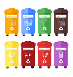 set of colorful trash sorting bins for vector image