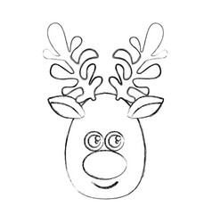 silhouette blurred cartoon cute face reindeer vector image