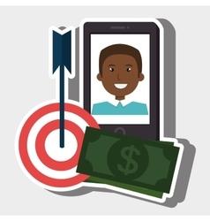 Smartphone target money bills vector