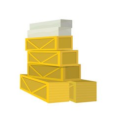 Stack of crates and boxes with goods vector