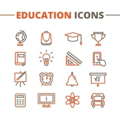 Trendy school icons set minimalistic line vector