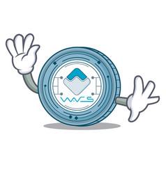 Waving waves coin character cartoon vector